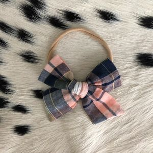 Pink plaid baby bow